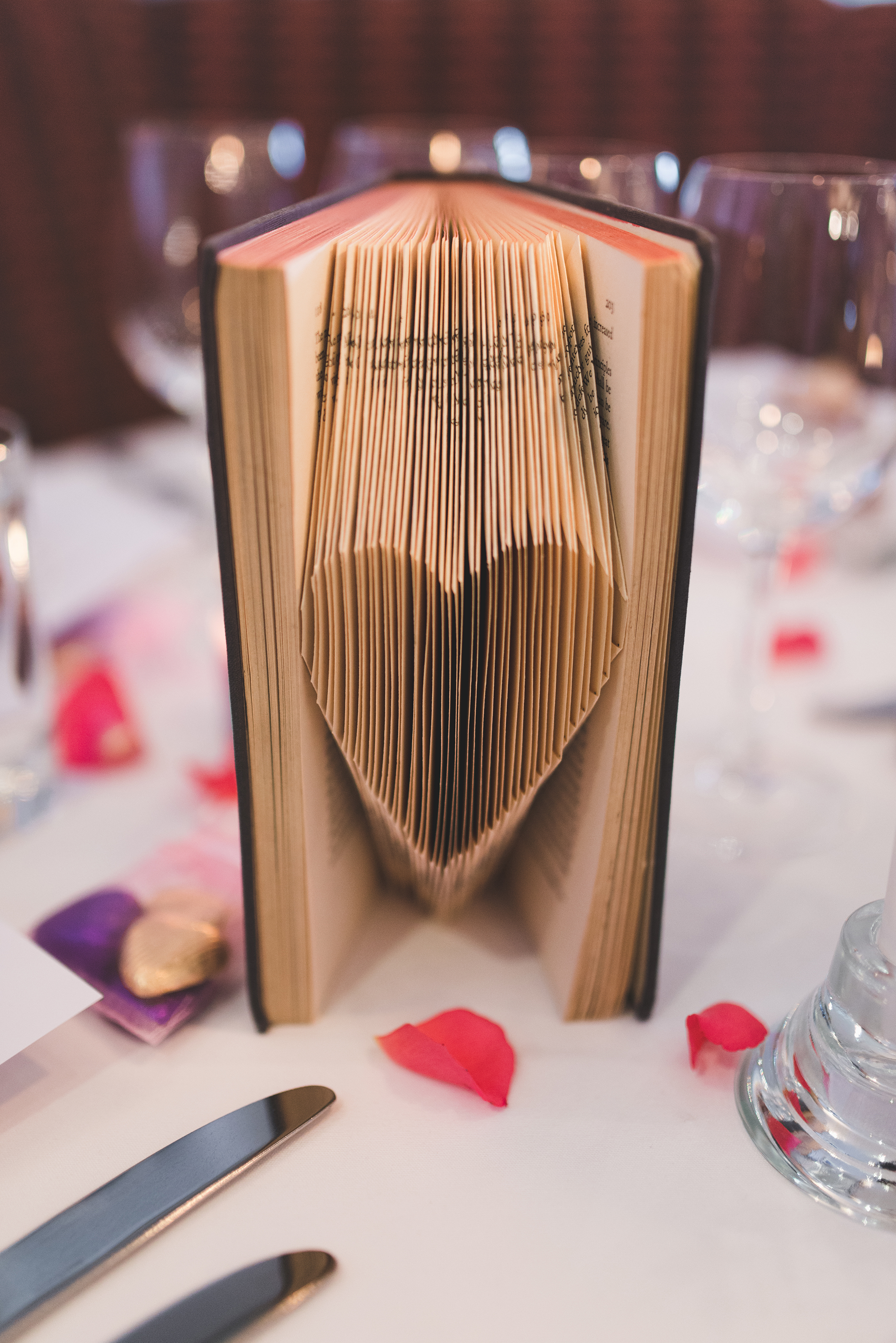 folded heart table number book