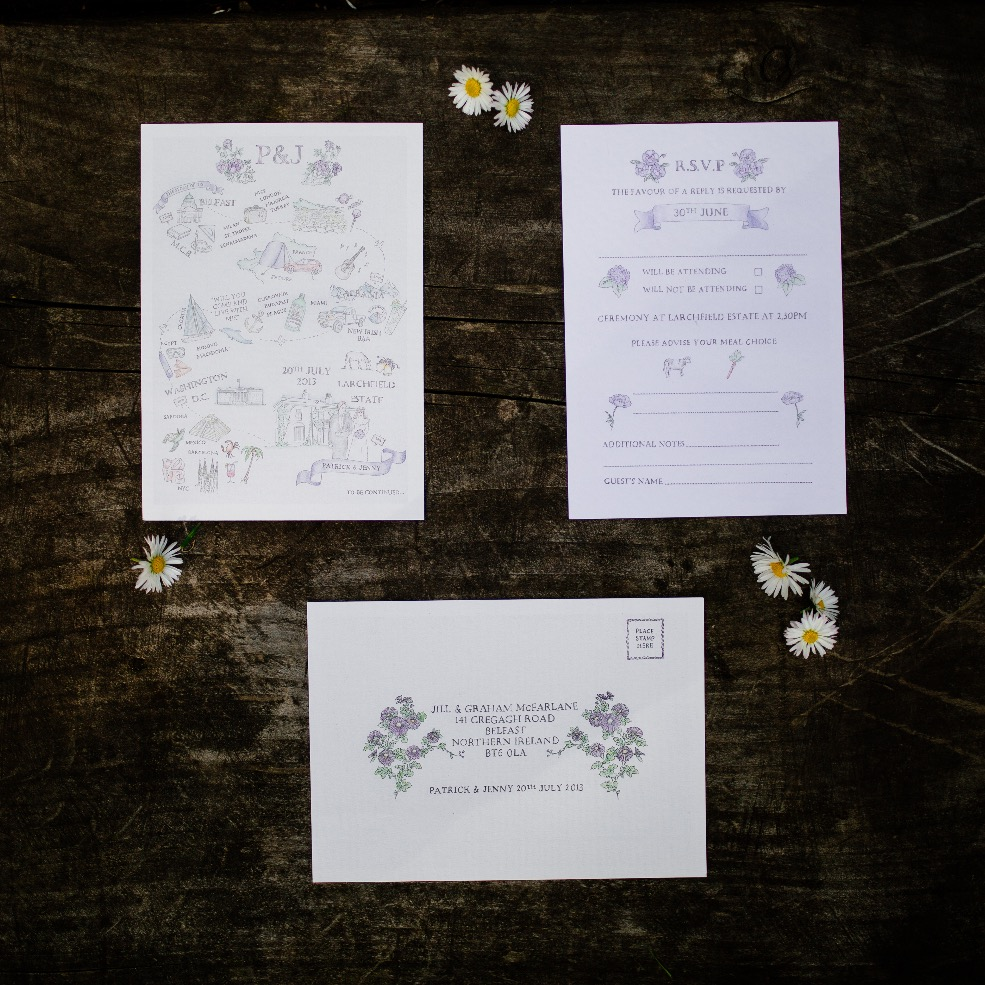 bespoke hand drawn invitation & rsvp