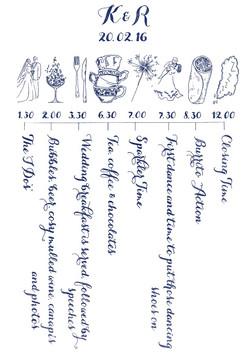 bespoke hand drawn order of service
