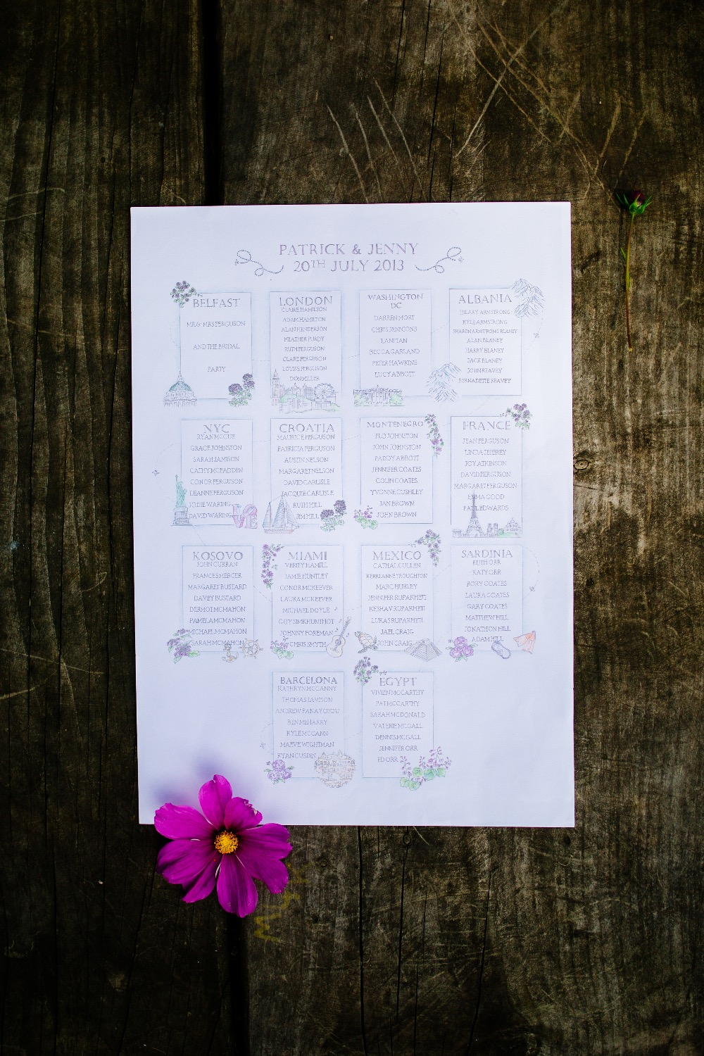 hand drawn table plan