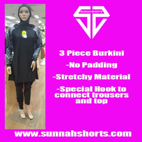 Burkini Black/Patterned Sleeves