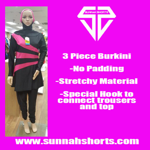 Burkini Black/Pink Waves
