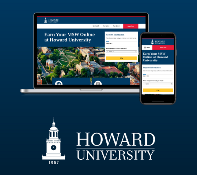 A laptop and cellphone featuring the Howard University Master of Social work website and logo