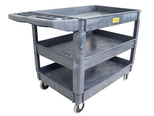 "Pake Handling Tools Plastic 3 Shelves Utility Cart 45.5"" x 25.6"" 550lbs Capacity"