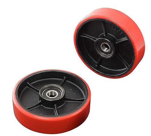 """Pair of Pallet Jack Steering Wheels Set (2 pcs) 7"""" x 2"""" with Bearings ID 20mm"""