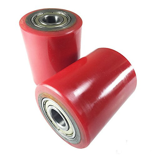 """Pair of Front Load Roller 2.75"""" x 3.75"""" (2 pcs) Poly Tread Red"""