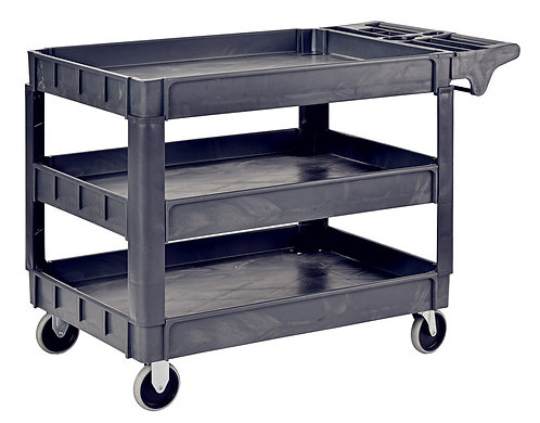 Pake Handling Tools Plastic 3 Shelves Utility Cart, 550lbs Capacity