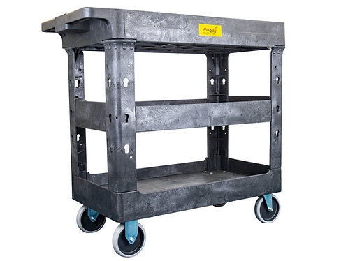 "Pake Handling Tools - Plastic 3 Shelves Utility Cart, 550lbs Capacity, 34.5"" X 1"