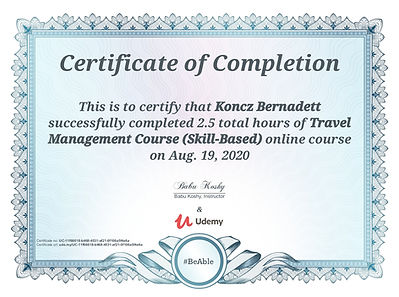 Travel Management certificate_Koncz Bern