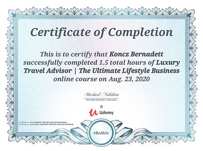 Travel Advisor certificate_Koncz Bernade
