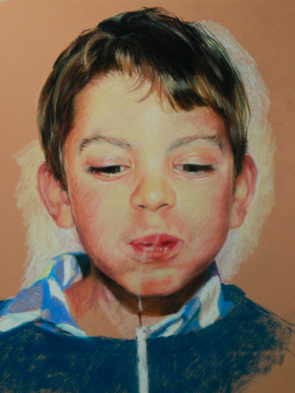 A boy  ,     Pastel sec on pastelmat,  24x30cm