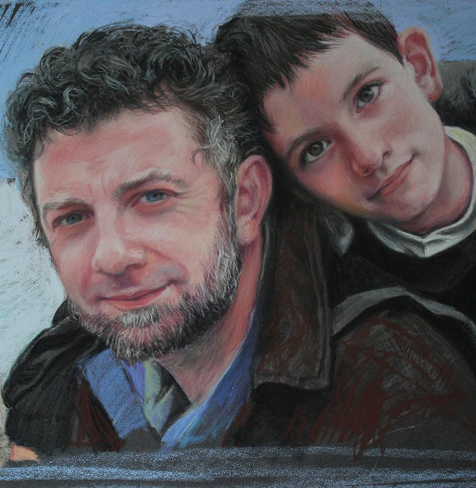 Père et fils,   pastel sec sur patelmat,