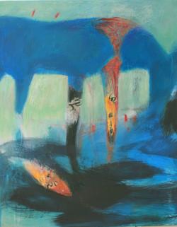 Grand cheval bleu dans l'eau noire