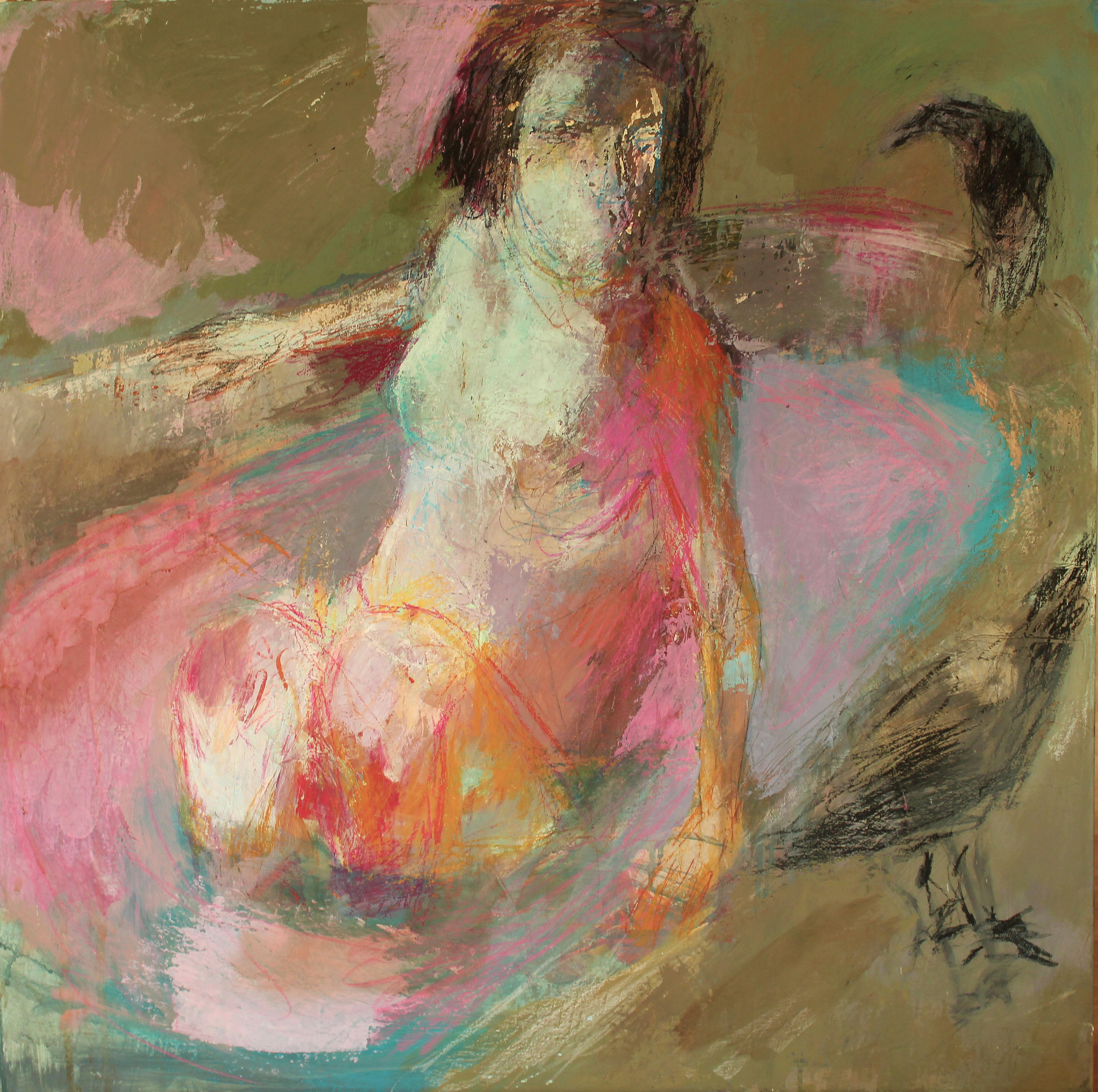 Femme avec deux corbeaux