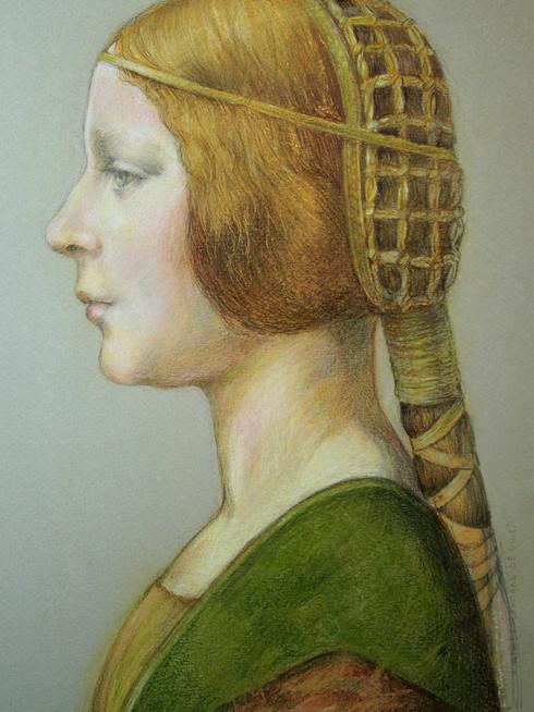 """Pastel  d'après """"La Belle Princesse"""" de Léonard de Vinci,  sur C à grain mi-teinte"""