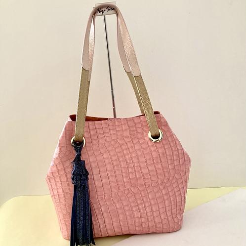 Carolina, bolso en cuero bovino color nude rosado