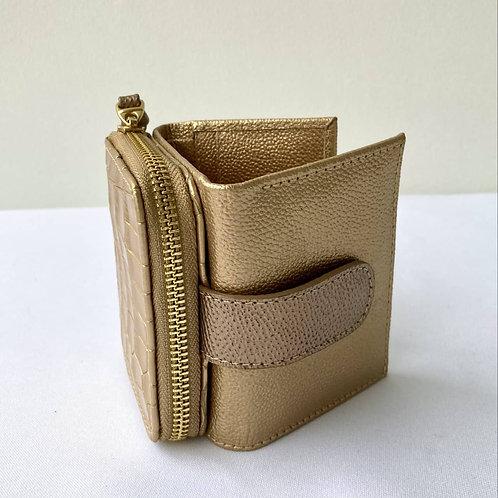 Mini-Billetera en cuero bovino dorada