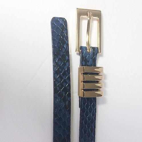 Dacota azul. Cinturon Pitillo de cuero bovino folia azul