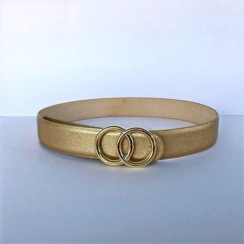 Cinturon de cuero Folia Dos Aros dorado