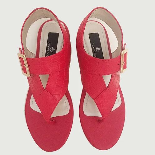 Sandalias rojas planas Alexa
