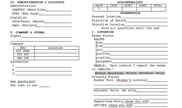 5 paragraph operations order for Usmc warning order template