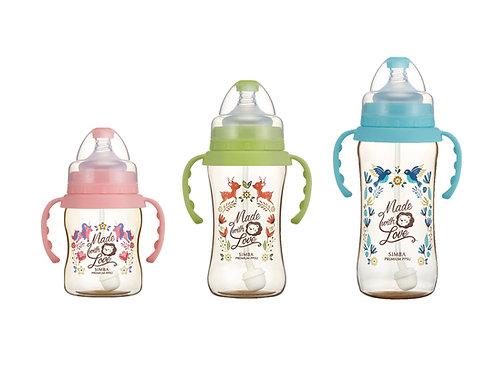 SIMBA PPSU Wide Neck Straw Bottle + Handle 200ml/270ml/360ml  PPSU把手吸管寬口葫蘆奶瓶