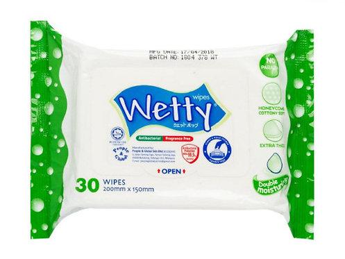 WETTY Antibacterial Wipes  99.9%消毒濕巾 30pc