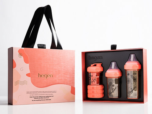 HEGEN Limited Edition PCTO Triple E Gift Set  珊瑚紅限量奶瓶飲水杯收納盒套裝