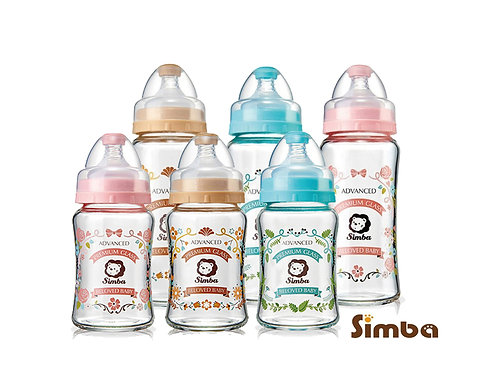 SIMBA Crystal Romance Glass Wide Neck Feeding Bottle 180ml/270ml  蘿蔓晶鑽寬口玻璃奶瓶