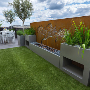 Planters and Corten Steel laser cut feature panel