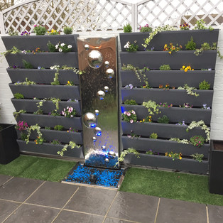 Bubble Wall water feature with living wall planters