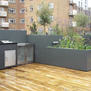 Planters and outdoor kitchen
