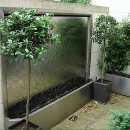 Satin Stainless steel water feature and matching planters