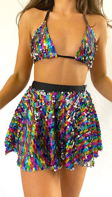 Rainbow Sequin Mini Skater Skirt