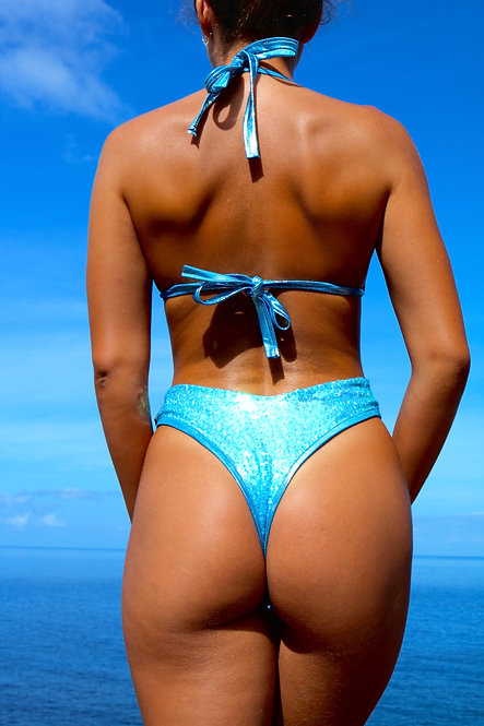 Baby Blue Sequin High Rise Peakini Thong Bottoms