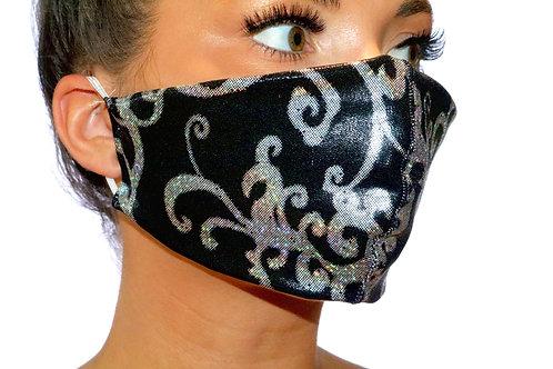 Black Silver Metallic Twirl Face Mask