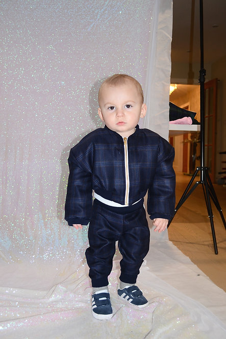 Pea Baby Navy Tartan Bomber Jacket with Gold Zip Unisex for Kids