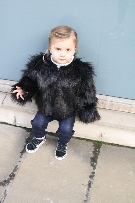 Pea Baby Black Faux Fur Coat Kids