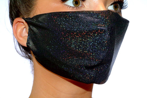 Black Sparkle Metallic Face Mask