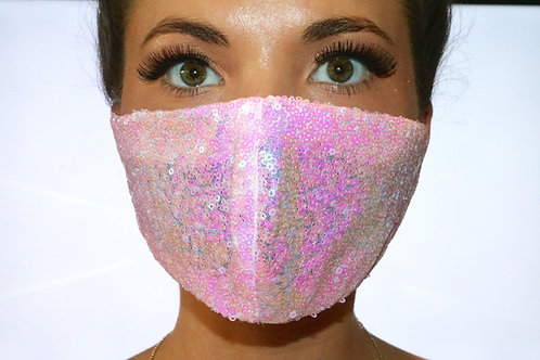 Baby Pink Sequin Face Mask