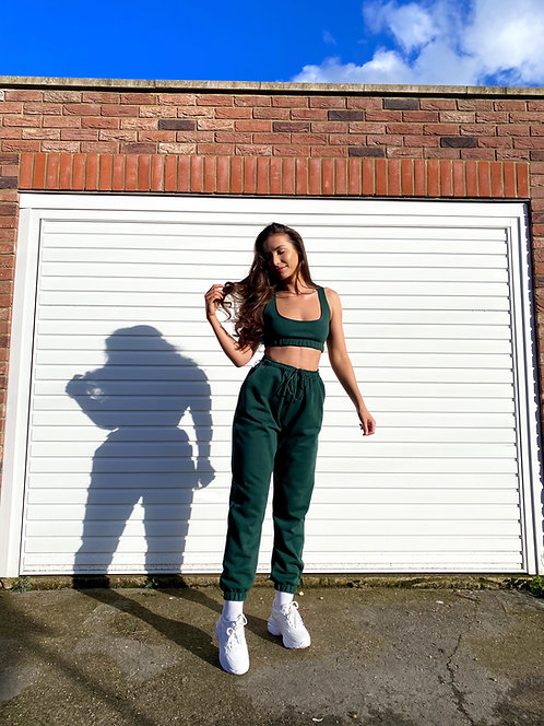 Bottle Green Crop Top Loungewear