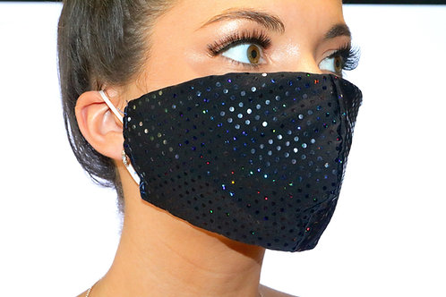 Black Sparkle Dot Face Mask
