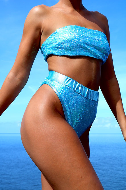 Baby Blue Sequin High Rise Peakini Bottoms