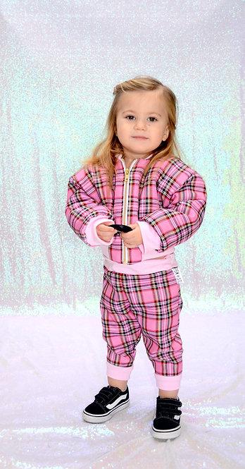 Pea Baby Kids Pink Tartan Bomber Jacket With Gold Zip