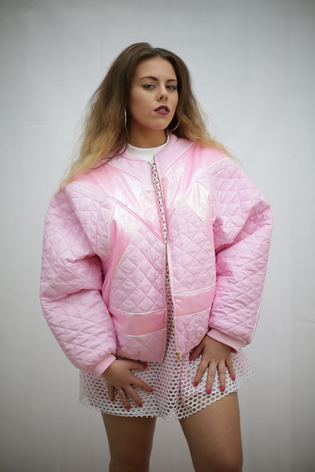 All Baby pink bomber jacket