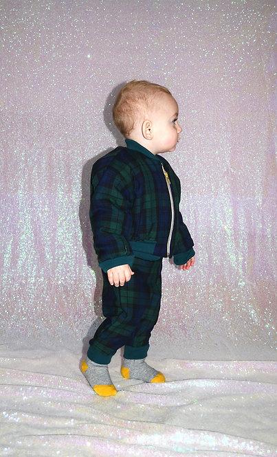 Pea Baby Green Tartan Trousers