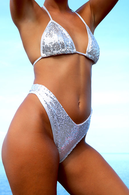 Silver Sequin High Rise Peakini Thong Bottoms