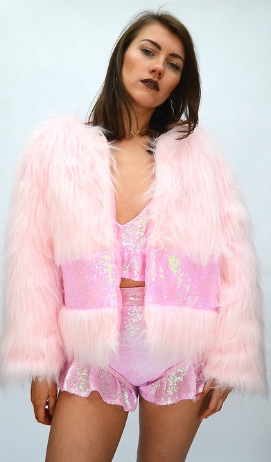 Baby Pink Faux Fur Coat