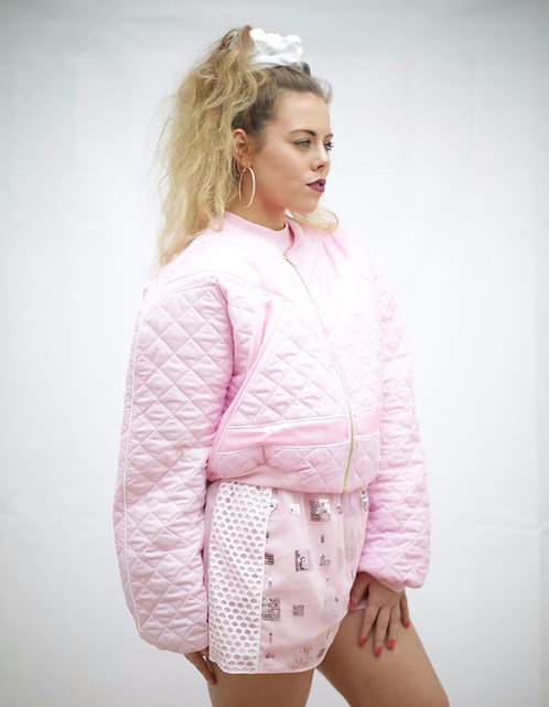 All Baby pink cropped bomber jacket