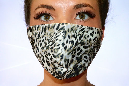 Light Grey Leopard Print Face Mask